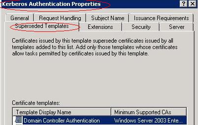 Ldap389domain controller certificates kerberos authentication template once yelopaper Gallery