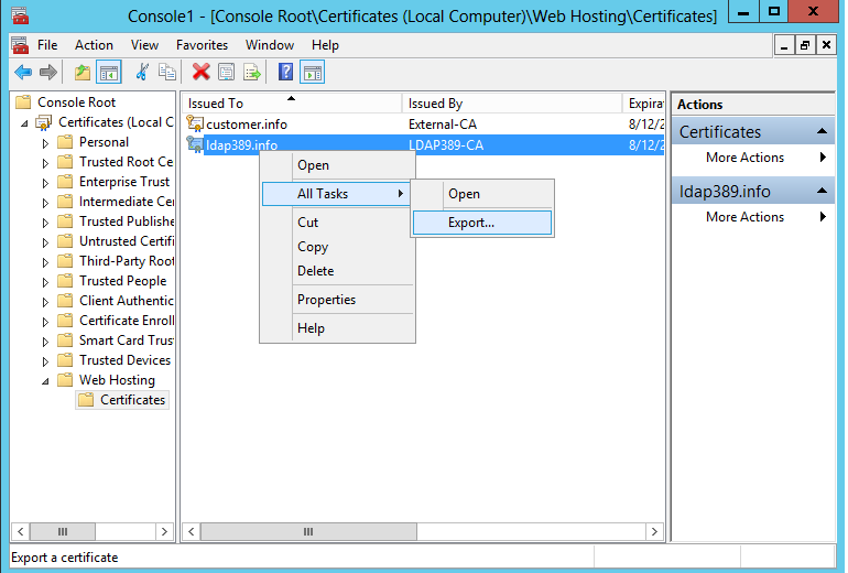 Ldap389windows Server 2012 Pfx Certificates And Sni Feature Under
