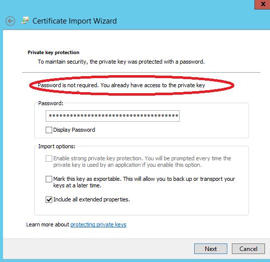 Windows server 2012: PFX Certificates and SNI feature under